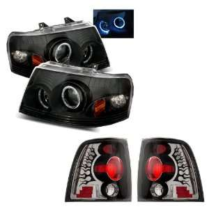 03 06 Ford Expedition Black LED Halo Projector Headlights