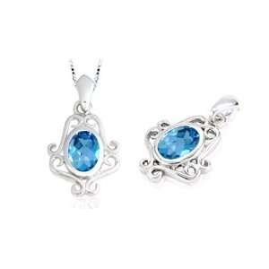 Oval Cut London Blue Topaz Pendant Sterling Silver Peora