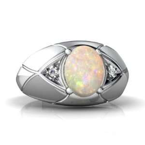 14K White Gold Oval Genuine Opal Mens Mens Ring Size 10 Jewelry