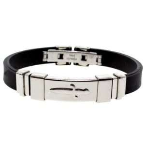 Sword Black Rubber & Stainless Steel Designer Mens Bracelet Jewelry