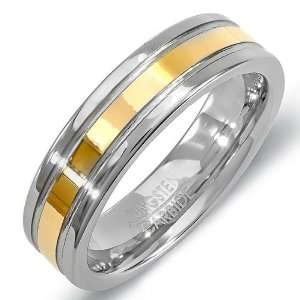 Mens Womens Ring Wedding Band 6MM Polished Flat Double Grooved Gold