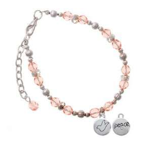 Peace with AB Crystal and Dove Pink Czech Glass Beaded Charm Bracelet