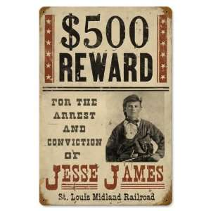 Wanted Jesse James Miscellaneous Vintage Metal Sign