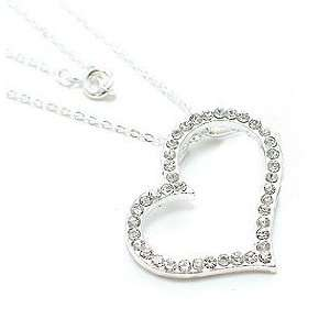 Crystal Large Floating Heart Silver Tone Pendant Necklace Jewelry