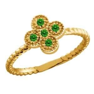 Round Green Diamond 18k Yellow Gold Ring