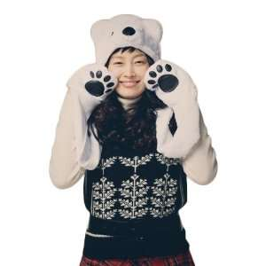 Polar Bear Animal Hat with Mittens Plush