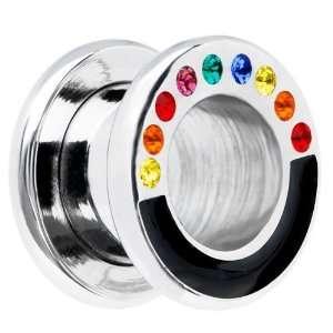 00 Gauge Stainless Steel Crystal Rainbow Tunnel Jewelry