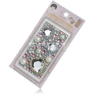 CLEAR HEARTS 3D RHINESTONE CRYSTAL PHONE BLING STICKER Electronics