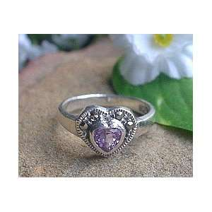 Sterling Silver Amethyst Heart Ring Size 5.5 Jewelry