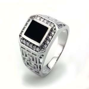 Sterling Silver Mens Ring w/ Black Onyx Inlay (Size 10