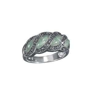 Avon Sterling Silver Genuine Green Jade & Marcasite, Ring