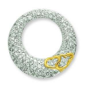 Silver Cz Open Circle With Gold Plated Hearts Slide Pendant Jewelry