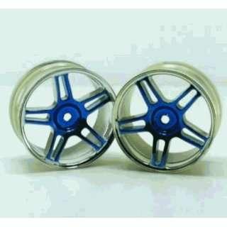 Redcat Racing 02228pb Chrome 5 Spoke Split Spoke Blue Anodized Wheels