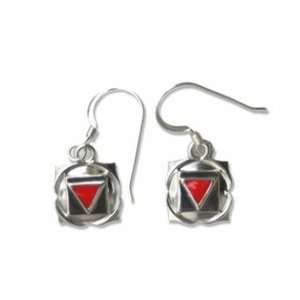 Root Chakra Earrings, Sterling Silver withith Red Enamel