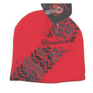 Dodge Tire Tracks Red Knit Beanie Hat