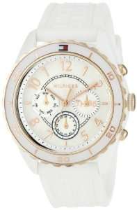 White and Rose Gold Plated Silicon Watch Tommy Hilfiger Watches