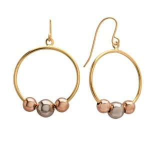 Duragold 14k Tri Color Gold Circle with Three Bead Earrings Jewelry