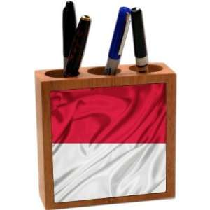 Rikki KnightTM Indonesia Flag 5 Inch Tile Maple Finished Wooden Tile