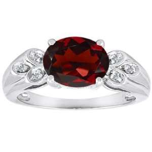 Gold Genuine Oval Garnet and Diamond Ring(MetalYellow Gold,Size4