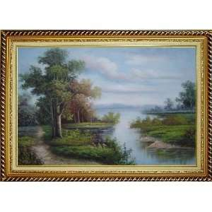 Riverside Landscape Scene Oil Painting, with Linen Liner