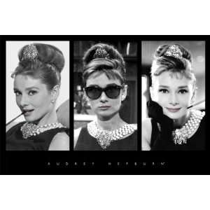 Audrey Hepburn Breakfast at Tiffanys Triptych, Movie Poster Print, 24