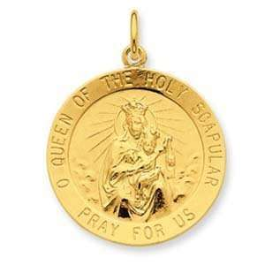 Silver & 24k Gold  plated Queen of the Holy Scapular Medal Jewelry