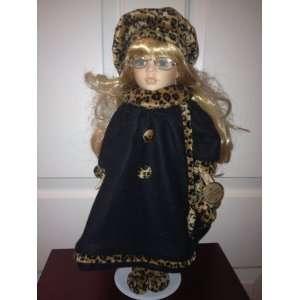 Collectors Choice Porcelain Doll with Black and Leopard