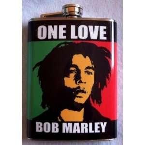 Bob Marley Flask Stainless Steel 8oz Jamaican Flag Fb2