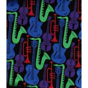 44 Fabric, Jazz Club Instruments with Guitars, Trumpet, Flute, Fabric