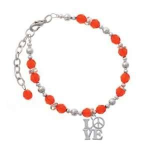Love with Peace Sign Orange Czech Glass Beaded Charm Bracelet [Jewelry