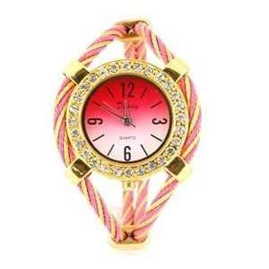 Quartz Wrist Watch with Diamond Decoration (Pink)