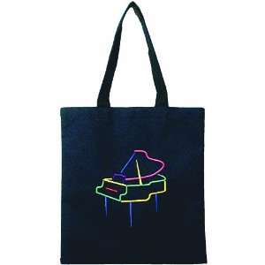 Black tote bag featuring embroidered grand piano Musical