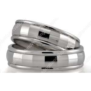Diamond Cut His and Her Wedding Ring Set 7.00mm and 5.00mm Wide, Shiny