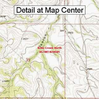 USGS Topographic Quadrangle Map   Belle Creek North, Montana (Folded