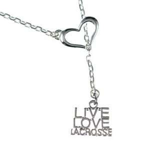 Love, Lacrosse   Silver Plated Open Heart Lariat Necklace Arts