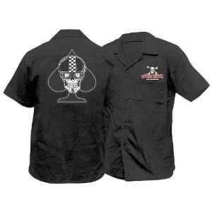 Lethal Threat Spade Biker Skull Work Shirt, Size: Sm