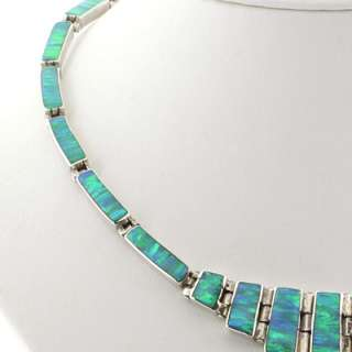 Silver Jewelry Necklaces Mexican Green Opal Necklace