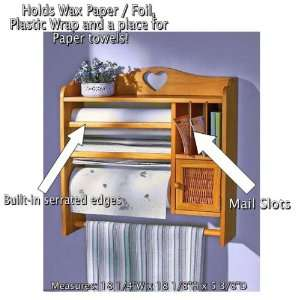 Wall Storage Organizer for Foil, Plastic Wrap, Paper Towels, Mail