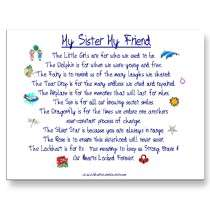 MY SISTER My Friend poem with graphics postcards by tinysquid66