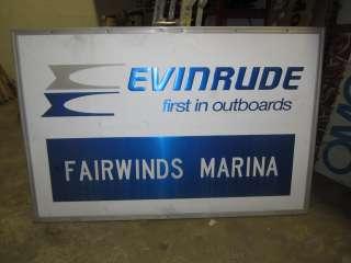 Evinrude outboard motors 46 X 70 aluminum dealer sign