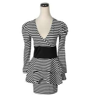 81609 Japan Korean Fashion Style Stripe Sexy Long Sleeve Dress