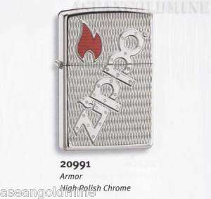 2x Zippo Lighter   Armor mark High Polish Chrome 20991