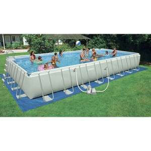 Site   Intex Rectangular Ultra Frame Pool Set   Gray (32x16x52