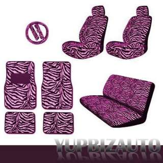 15 pieces Complete Safari Pink Zebra Car Seat Covers, Rear Bench Cover