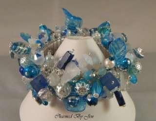 VALLEY & LEAF Blue White Artisan CHA CHA Silver Charm Bracelet