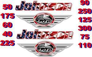 JOHNSON BOAT MOTOR DECAL,STICKER,DECALS OUTBOARD FLAG