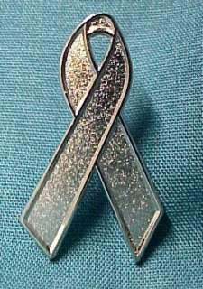 Brain Cancer Silver Awareness Ribbon Lapel Pin Tac New