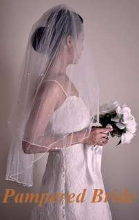 Ivory 2T Bridal wedding veil headpiece 28x34 rhinestone