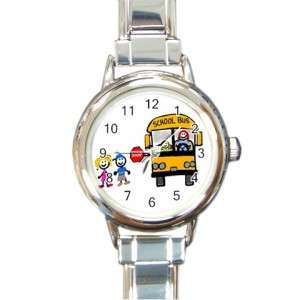 Back to School Bus Driver Round Charm Wrist Watch Gift