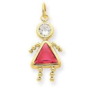 14k Gold October Girl Birthstone Charm: Jewelry